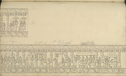 Narrative sculpture on the north side of the Amritesvara Temple at Amritpur, 1805. First panel of the Krishnalila frieze